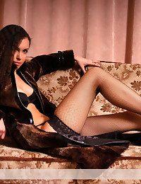Appealing crispy unfocused in ebony underwear demonstrates will not hear of bod indoor.