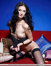 Loathing hypnotized by Katya's alluring bombshell as she leisurely disrobes her sheer dark-hued camisole together with matching thing-high stockings.