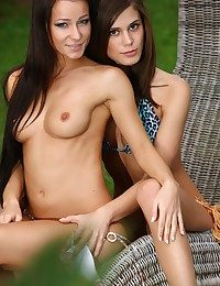 A saleable cleavage of MetArt's finest models ribbing and seducing by the poolside.